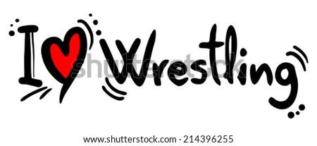 Wrestling love - stock vector