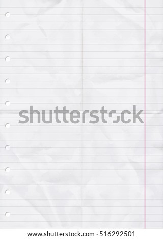 Wrinkled and Folded sheet of line Paper. Vector, Illustration of Wrinkled and Folded of line Paper Sheet with holes.