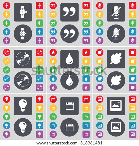 Wrist watch, Quotation mark, Microphone, Disk, Drop, Leaf, Light bulb, Calendar, Window icon symbol. A large set of flat, colored buttons for your design. Vector illustration - stock vector