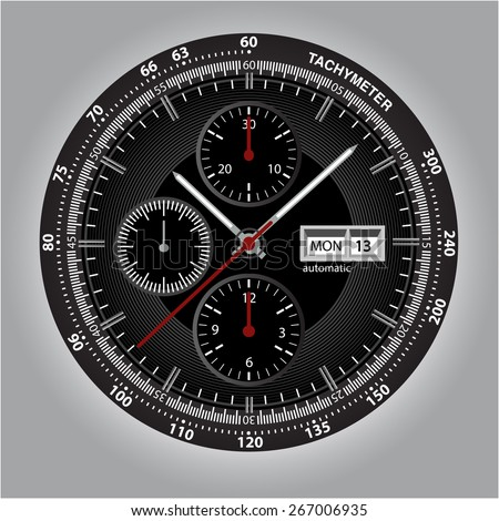 Wrist watch watchface with chronograph and tachymeter - stock vector