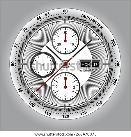 Wrist watch watchface with chronograph and tachymeter. White edition sport watch - stock vector
