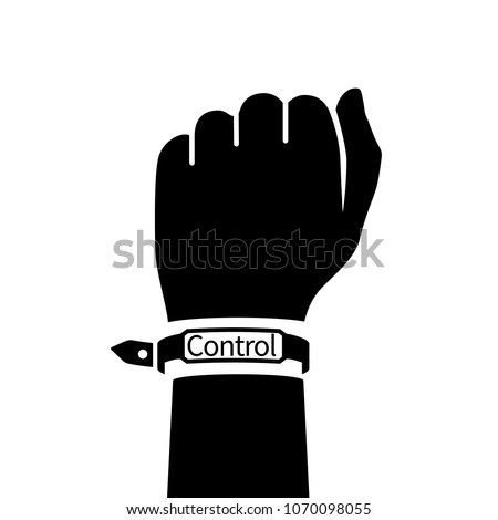 wristband on hand man blank rubber bracelet black pictogram use for advertising promotion