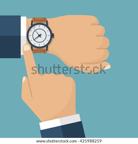Wristwatch on the hand of businessman in suit. Time on wrist watch. Man with clock checks the time. Hand with clock isolated on background. Flat design, vector illustration. - stock vector