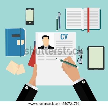 Writing a business cv resume concept - stock vector
