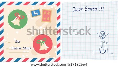 Writing letter santa claus postal envelope stock vector 519192664 writing a letter to santa claus postal envelope with stamps handwritten wishlist with child spiritdancerdesigns Choice Image