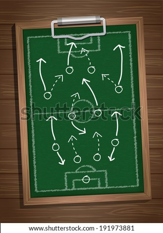 writing a soccer game strategy on a blackboard. Vector template - stock vector
