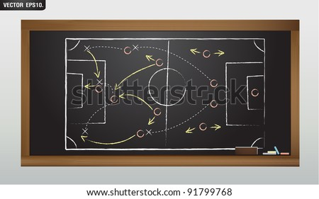writing a soccer game strategy on a blackboard. Vector template