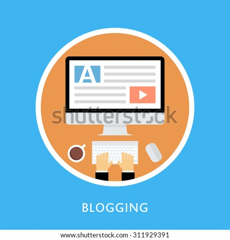 Writing an article for blog on computer. Vector illustration. - stock vector