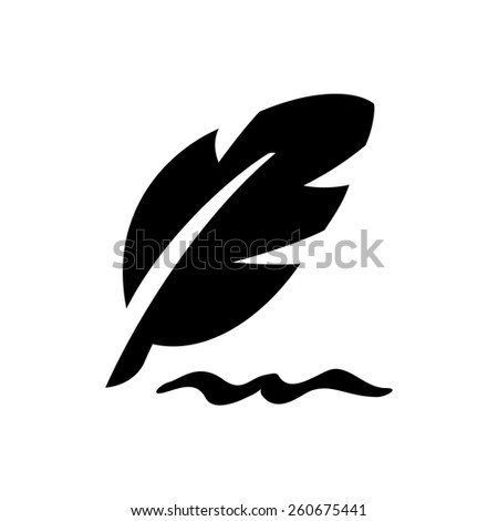 Writing feather icon - stock vector