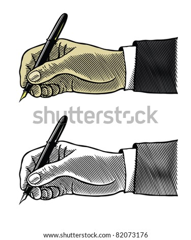 Writing hand with fountain pen on white background