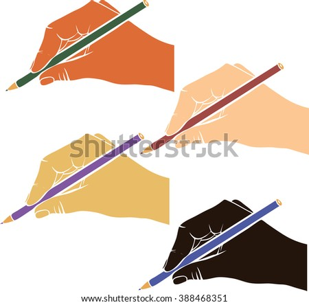 writing hand with pencil from different race, hands with colored skin, drawing right hands, hand drawn vector icon - stock vector