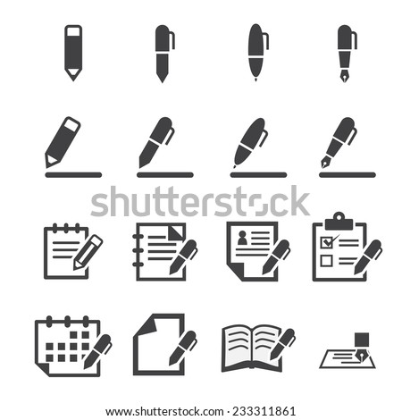 writing icons - stock vector