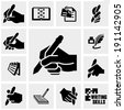 Writing  icons set on gray.  - stock vector