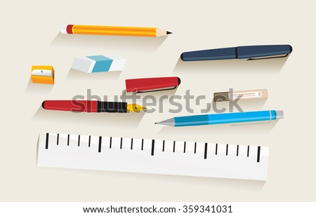 Writing instruments on desk, vector draw illustration, isolated object.  - stock vector
