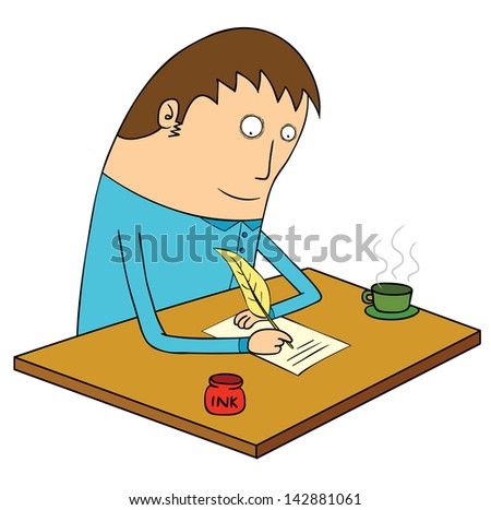 writing letter - stock vector