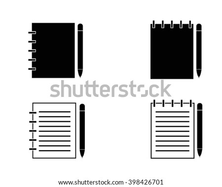 Writing pad and pen - stock vector