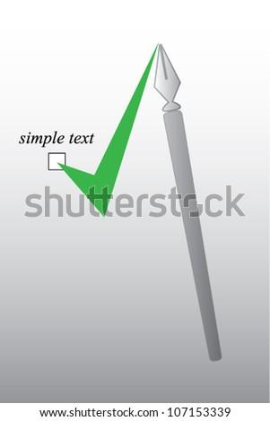 Writing pen and check mark sign concept - stock vector