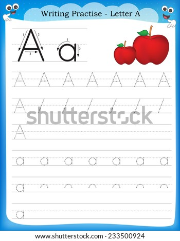 Writing Practice Letter Printable Worksheet Preschool Stock Vector ...