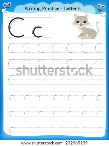 Writing practice letter C  printable worksheet for preschool / kindergarten kids to improve basic writing skills  - stock vector