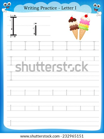 Writing practice letter I  printable worksheet for preschool / kindergarten kids to improve basic writing skills  - stock vector