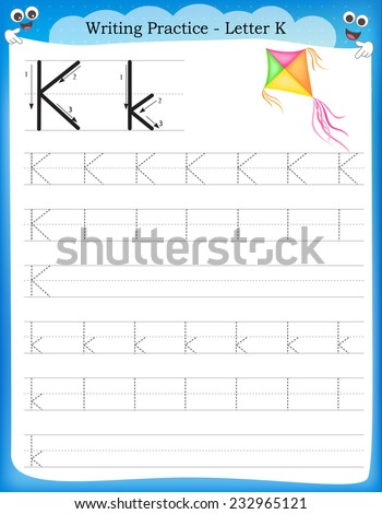 Writing practice letter K  printable worksheet with clip art for preschool / kindergarten kids to improve basic writing skills  - stock vector