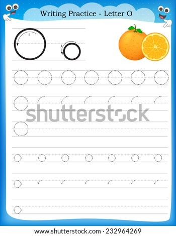 Writing practice letter O  printable worksheet with clip art for preschool / kindergarten kids to improve basic writing skills  - stock vector