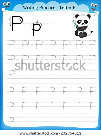 Writing practice letter P  printable worksheet with clip art for preschool / kindergarten kids to improve basic writing skills  - stock vector