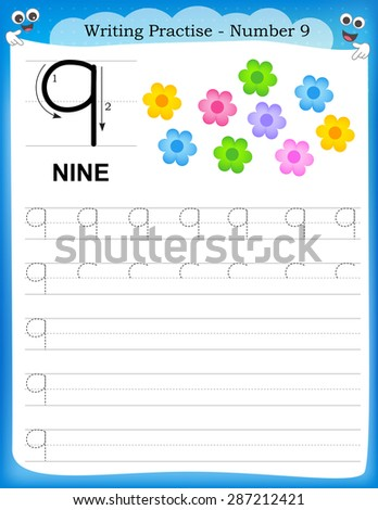 Writing practice number nine printable worksheet for preschool / kindergarten kids to improve basic writing skills - stock vector
