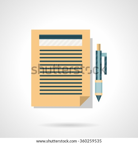 Written paper document with pen button. Writing articles, blogging, copywriting. Flat color style vector icon. Element for web design, business, mobile app. - stock vector