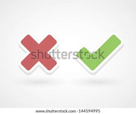 Wrong and ok - stock vector