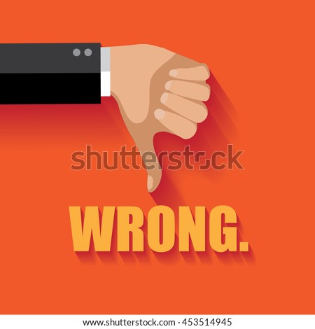 Wrong thumbs down flat design. EPS 10 vector. - stock vector
