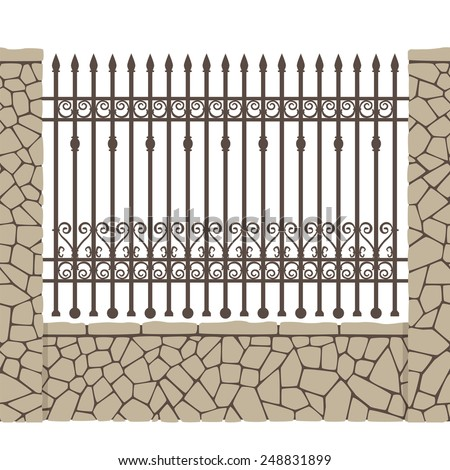 Wrought fence with stone wall. Can be used as a pattern brush, seamless fencing.e p s 1 0. - stock vector