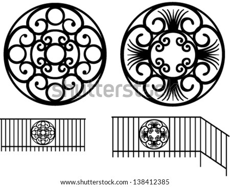 Wrought iron decoration in the set - stock vector