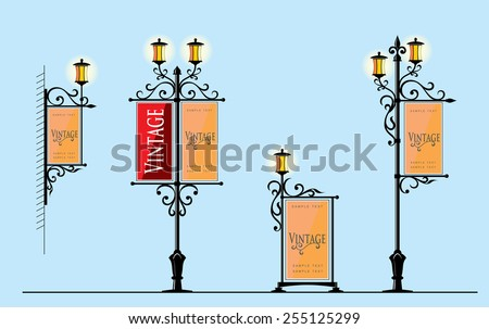 wrought-iron street lamps with a sign for advertising, the vector - stock vector