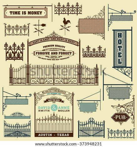 wrought iron wicket, fence and gates grilles isolated - stock vector