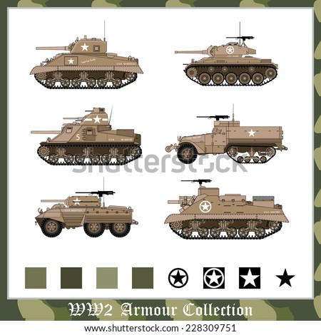 WW2 american armour collection - stock vector