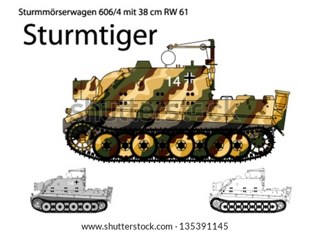WW2 German Sturmtiger self propelled heavy assault gun - stock vector