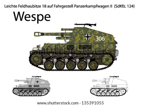 WW2 German Wespe self propelled artillery - stock vector