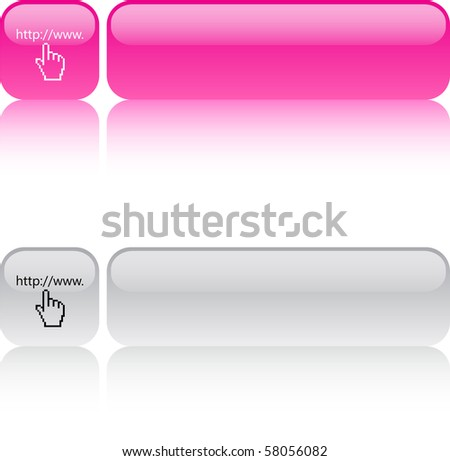 Www click glossy square web buttons. - stock vector