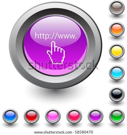 Www click  metallic vibrant round icon. - stock vector