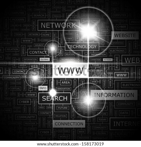 WWW. Concept vector illustration. Word cloud with related tags and terms. Graphic tag collection. Wordcloud collage.  - stock vector