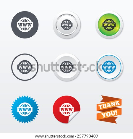 WWW sign icon. World wide web symbol. Globe. Circle concept buttons. Metal edging. Star and label sticker. Vector - stock vector