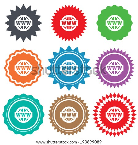 WWW sign icon. World wide web symbol. Globe. Stars stickers. Certificate emblem labels. Vector