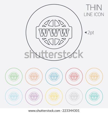 WWW sign icon. World wide web symbol. Globe. Thin line circle web icons with outline. Vector - stock vector