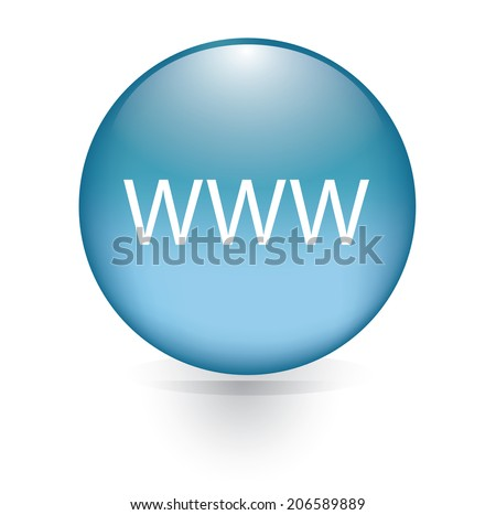 www word blue button - stock vector