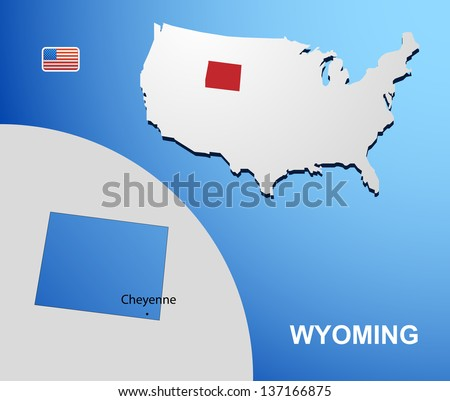 Wyoming on USA map with map of the state