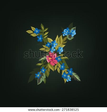 X letter. Flower  alphabet. Colorful font. Lowercase.  Vector illustration. - stock vector