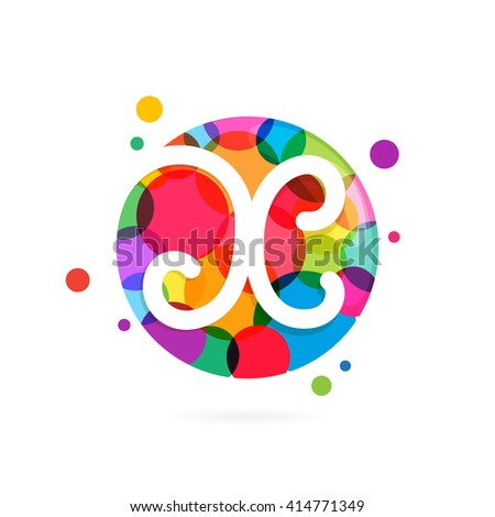 X letter logo in circle with rainbow dots. Font style, vector design template elements for your application or corporate identity. - stock vector