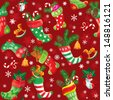 X-mas and New Year background with Christmas stockings. Seamless pattern for holiday design. - stock