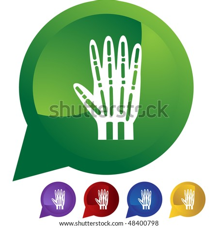 X-ray hand web button isolated on a background